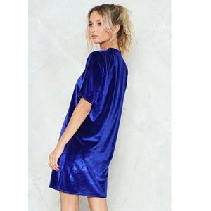 Nasty Gal Dresses - NWT Take A Liking Blue Velvet Tee Dress